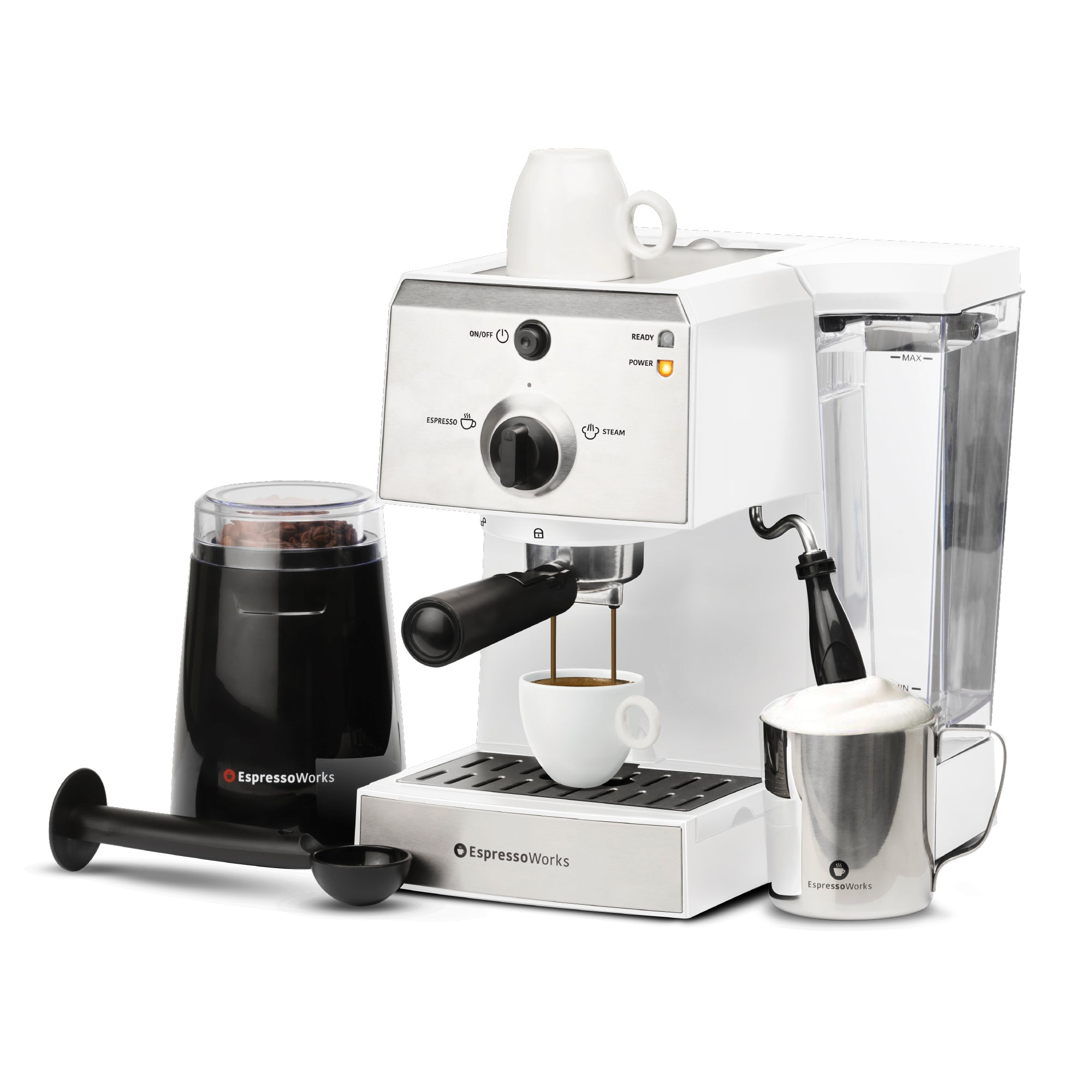 7-piece 15-bar EspressoWorks Espresso Machine Set White brewing an espresso