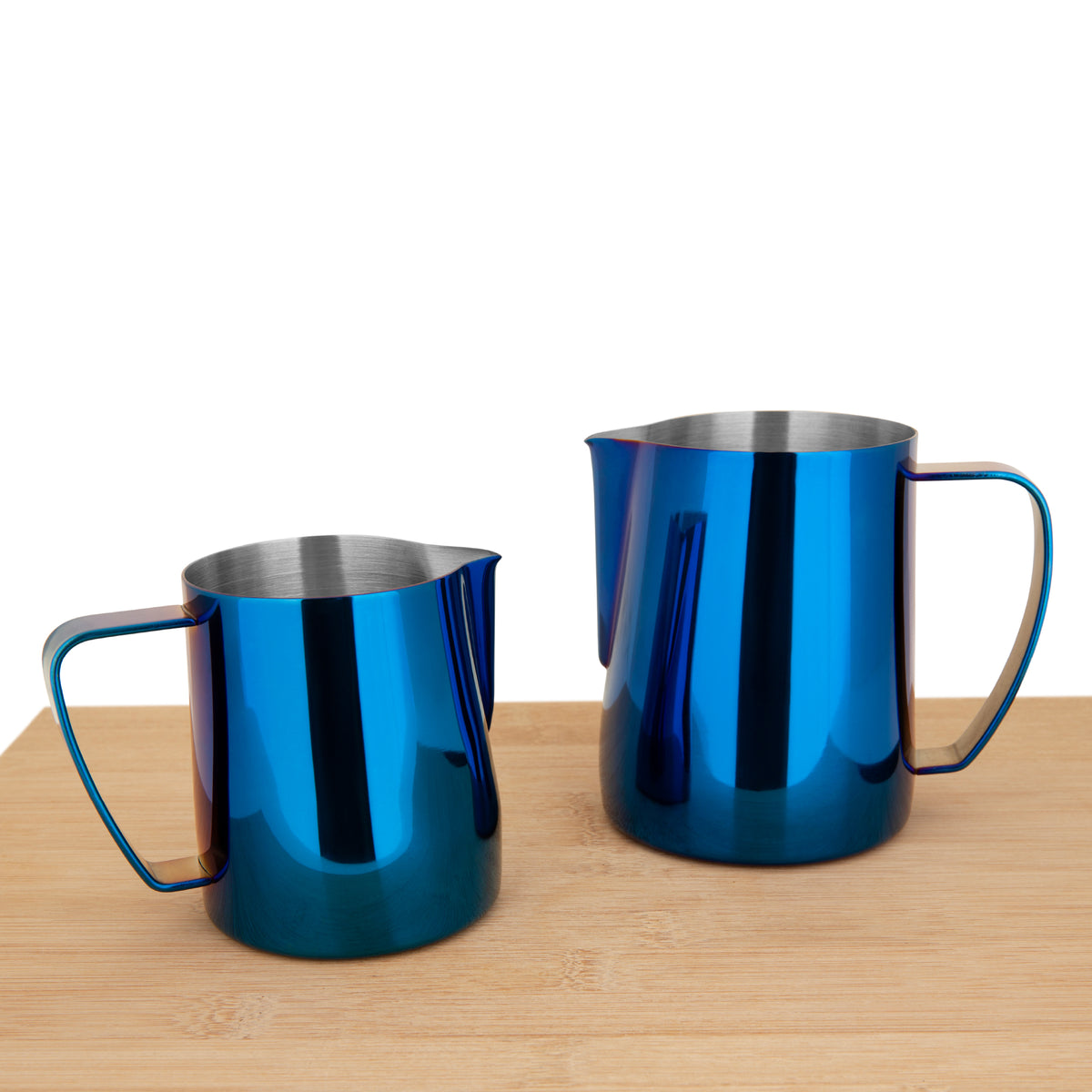 EspressoWorks Stainless Steel Milk Frothing Jug - Blue (350ml and 600ml)