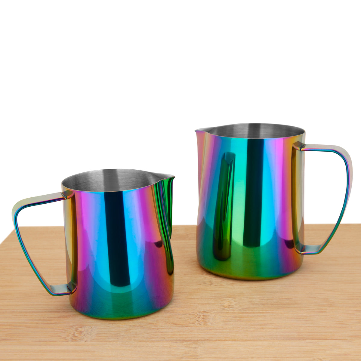 EspressoWorks Stainless Steel Milk Frothing Jug - Rainbow (350ml and 600ml)