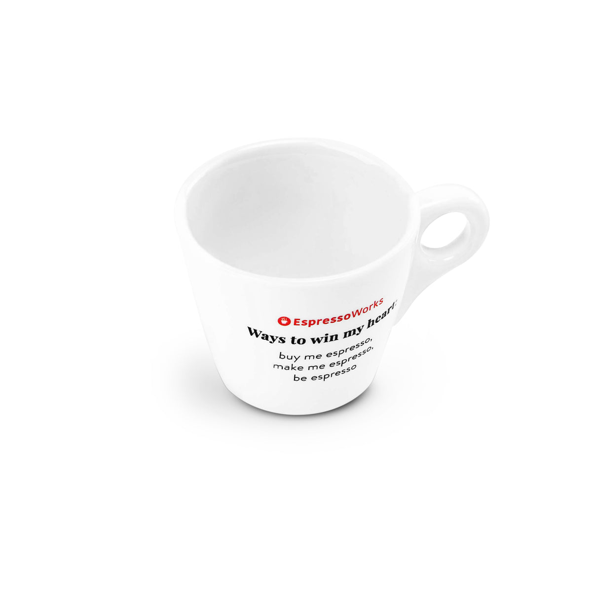 "EspressoWorks Ceramic Espresso Cup with ""Ways to Win My Heart"" Quote"