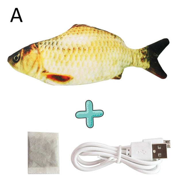 New 30CM Electronic Pet Cat Toy Electric USB Charging Simulation Bouncing Fish Toys For Cat Chewing Playing Biting Supplies