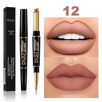 Colorfull Long-lasting Lip Liner Matte Lipsticks Double Head Lip Pencil Waterproof