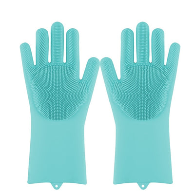 Magic Silicone Dishwashing Scrubber Sponge Rubber Scrub Gloves Kitchen Cleaning