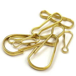 M35 5 pcs Wholesale Solid Brass S-Ring Curtain Clasp Split Key Ring Hook Chain Loop none-spring gate 20mm/ 33mm/ 51mm simple hooks