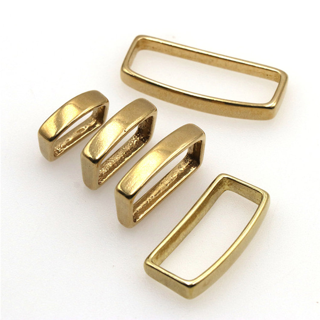 M16 2 Pcs Solid Brass Belt Keeper D Shape Belt Strap Loop Ring Buckle for Leather Craft Bag Strap Belt 16mm 20mm 25mm 32mm 40mm