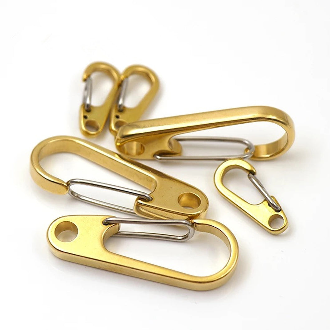 M3 1x Pure Brass Curtain Clasp Split Key Ring Hook Chain Loop Key Ring Keychain Strap Wallet Bag Leather Belt Hooks 1