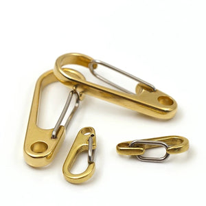 "M3 1x Pure Brass Curtain Clasp Split Key Ring Hook Chain Loop Key Ring Keychain Strap Wallet Bag Leather Belt Hooks 1"" 1-1/4"" 2"""