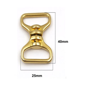 M6 1 x Solid brass Double end swivel eye rotating connector buckle for leather craft belt strap keychain Fob clip Pet rope leashes