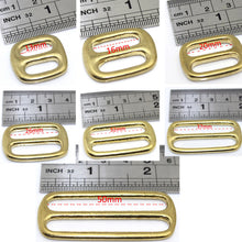 将图片加载到图库查看器,M25 Solid Brass Tri Glides Slide 3 Bar Rectangle/Square Adjuster Buckle for leather craft Bag Shoulder Strap Belt Webbing