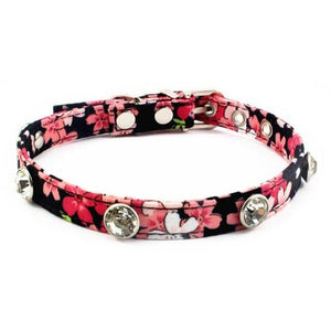 8.2 1Floral Rhinestones Dog Collar Fashion Retro Collar For Small Dogs Puppies Pup Mini Teddy Samoyed Yorkie Pet Accessories