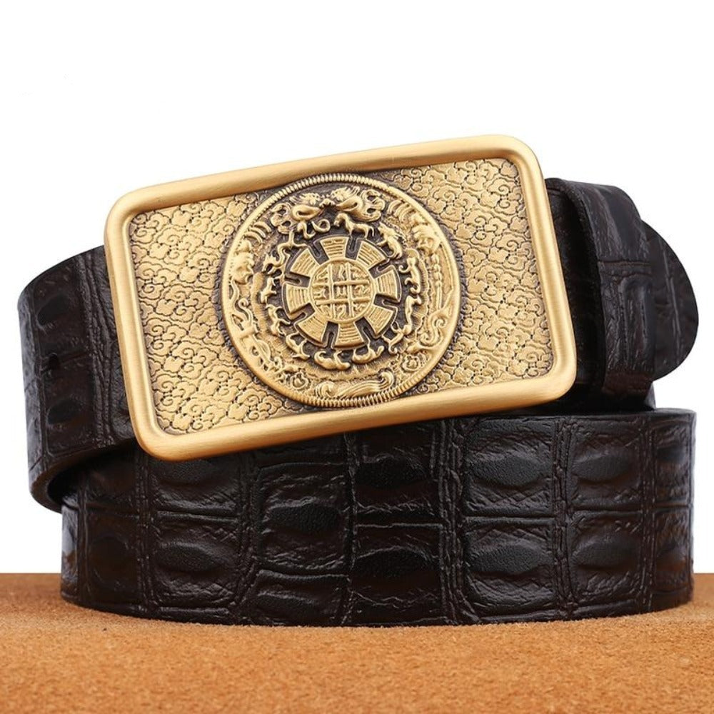 3 Famous Men Belt Jeans Genuine Leather Pin Buckle Cowboy Belts For Male Vintage Brand Cowhide Belt Waistband