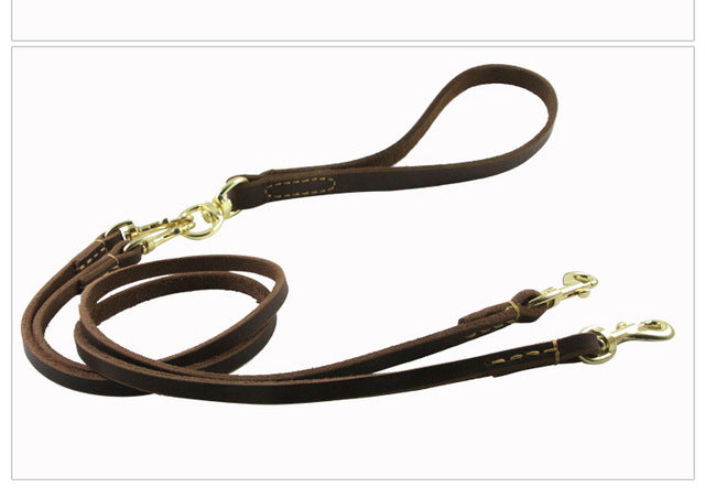 8 Leather Double Leashes Detachable Pet Dual Lead belt for 2 or 3 or 4 Dogs Small Medium Two Way Dog Retraction Rope