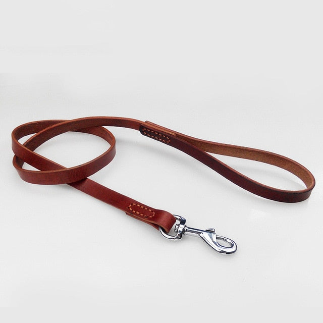 8 Pet Supplies Genuine Leather Dog Leash Pitbull German Shepherd Training Walking Dog Chain with Strong Metal Buckle 120cm length