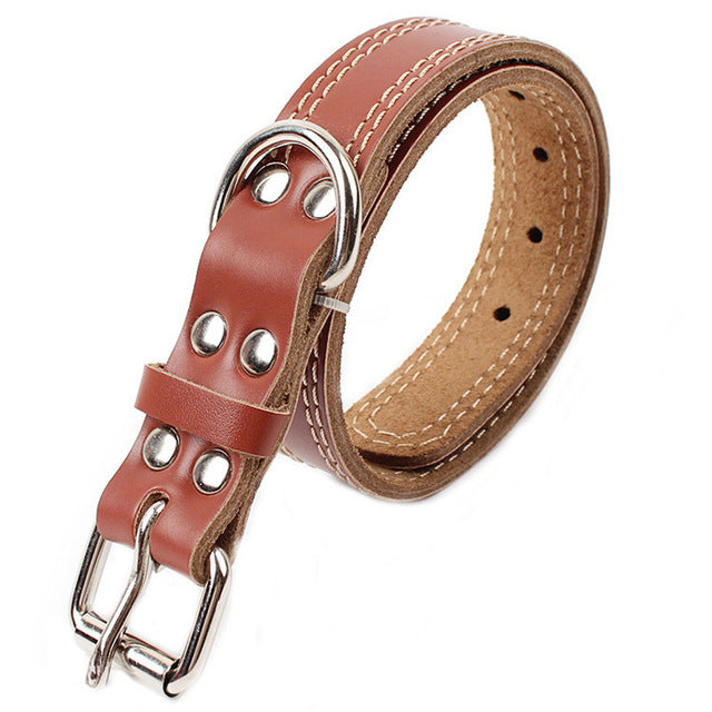 8 Leather Dog Collar Pitbull Labrador Large Dog Necklace Double Sewing Neck Size Adjustable Collar for Big Dogs Golden Retriever