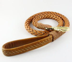 8 Genuine Leather Dog Leash Leads Pet Braided Dog Chain Handmade Thicken Extra Wide Pet Training Belt for Husky Golden Retriever