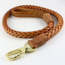 Load image into Gallery viewer, 8 Genuine Leather Dog Leash Leads Pet Braided Dog Chain Handmade Thicken Extra Wide Pet Training Belt for Husky Golden Retriever