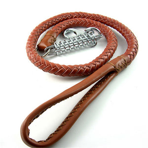 8 Dog Training Leash Leads Real Strong Leather Dog Rope for German Shepherd Large Dogs 120cm Long 1.8cm Width Brown Color