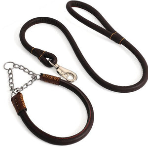 8 PU Leather Dog Training Leash Dogs P Chain Slip Collar Walking Leads Rope For Medium Large Breeds Golden Retriever Husky