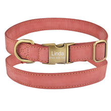Load image into Gallery viewer, 94 Leather Dog Collar Personalized Puppy Name Custom Engraved Boy Girl Buckle S-L
