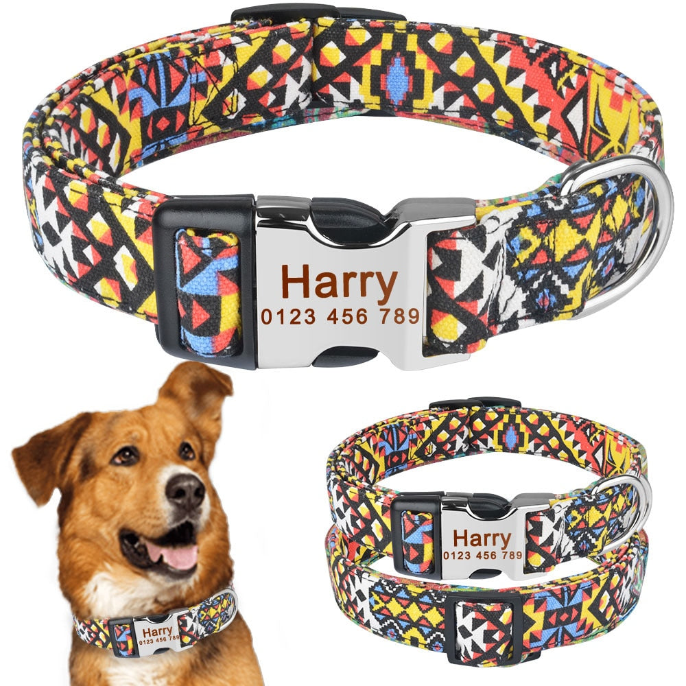92 Personalized Dog Collar Durable Nylon Floral Custom Engraved Boy Gilrl Dog Name