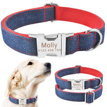Load image into Gallery viewer, 91 Red Floral Small Large Pet Personalized Dog Collar Puppy Tag Name Free Engraved