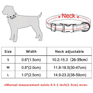 92 Durable Nylon Personalized Dog Collar Floral Custom Engraved Puppy Dog Name S-L