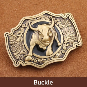 1 Retail New Style High Quality 3D Bull Solid Brass Men Belt Buckle With 85*61mm 141g Metal Cowboy Belt Head For 3.8cm Wideth Belt