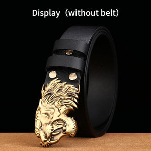 1 New Style High Quality 3D Tiger Head Solid Brass Men Belt Buckle Metal Cowboy Belt Head For 38mm Wide Belt