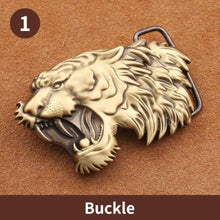 Load image into Gallery viewer, 1 New Style High Quality 3D Tiger Head Solid Brass Men Belt Buckle Metal Cowboy Belt Head For 38mm Wide Belt