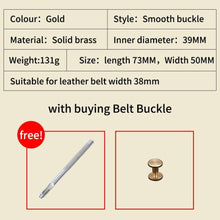 Load image into Gallery viewer, 1 Smooth buckle Solid Brass DIY Leather Craft for men's belt Brushed Metal Fashion Mens Womens Jeans Accessories fit for 3.8cmbelt