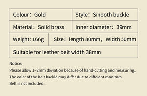 0 Wholesale Brand High Quality Solid brass Belt Buckle Men&Women brass Smooth Buckles For Band width 3.8cm Belt Accessories Gift