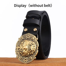 Load image into Gallery viewer, 0 High quality 3D Solid Copper Brass Cowboy Metal Belt Buckle Fashion Animal Buckles For 4cm Wide Belt Men Jeans accessories