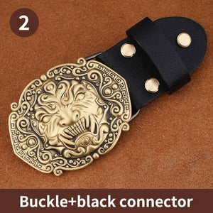 0 High quality 3D Solid Copper Brass Cowboy Metal Belt Buckle Fashion Animal Buckles For 4cm Wide Belt Men Jeans accessories