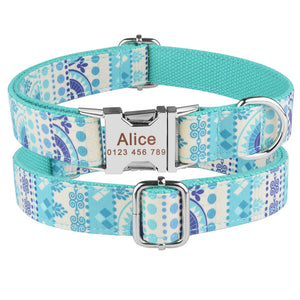 91 Large Nylon Personalised Dog Collar Name ID Custom Engraved Puppy Dog Collars XS