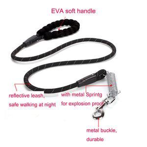 8 Durable Nylon Dog Leashes EVA Soft Handle Dog Rope Explosion Proof Spring Reflective Training Leads Cheap Petshop Products