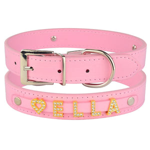 96 DIY Bling Personalized Dog Collar Rhinestones Leather Free Name Small Medium Pet