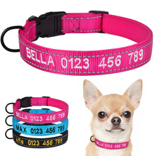将图片加载到图库查看器,95 Adjustable Nylon Personalised Embroidered Dog Collar Puppy ID Collars Reflective