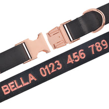 Load image into Gallery viewer, 91 Personalized Basic Dog Collar Solid Collar Custom Embroidered Puppy Collars Male Female Customized Pet Collar for All Season