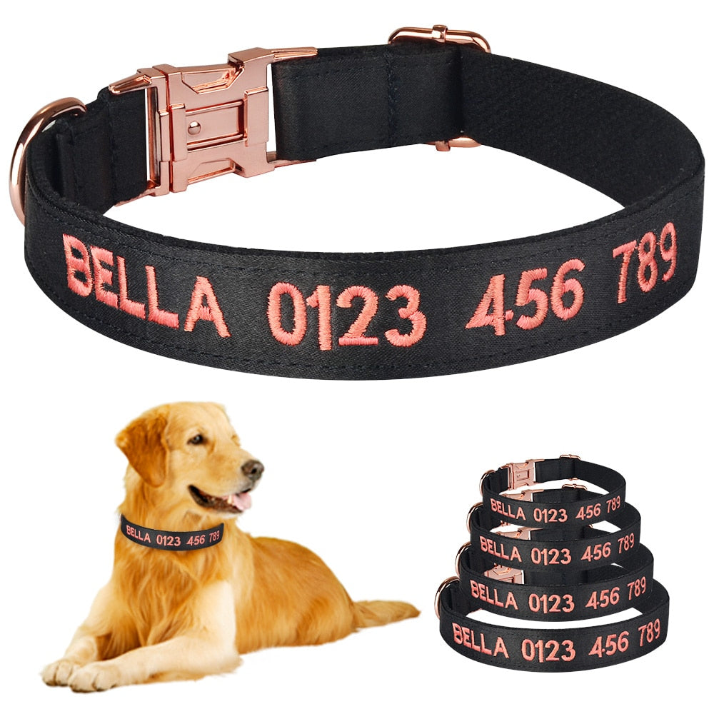 91 Personalised Dog Collar Custom Engraved or Embroidered Puppy Collars Male Female