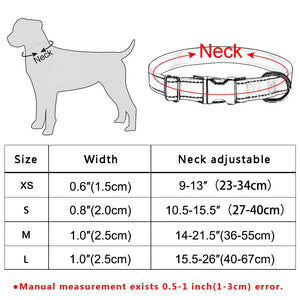96 Durable Dog Collar Free Engraving Personalized Adjustable Nylon Dogs ID Name XS-L Reflective Material