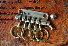 将图片加载到图库查看器,DIY leather craft super quality solid brass stainless steel disassemble key ring 5 round ring buckle