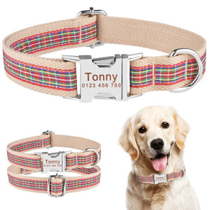 91 Nylon Personalised Dog Collar Name Tag Phone Number Custom Engraved Small Large
