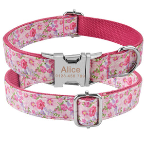 91 Nylon Personalised Dog Collar Custom Engraved Small Medium Large Dogs Puppy Pet