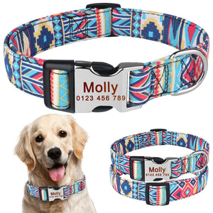 92 Adjustable Personalised Dog Collar Pet Custom Engraved NameTag ID Collars S M L