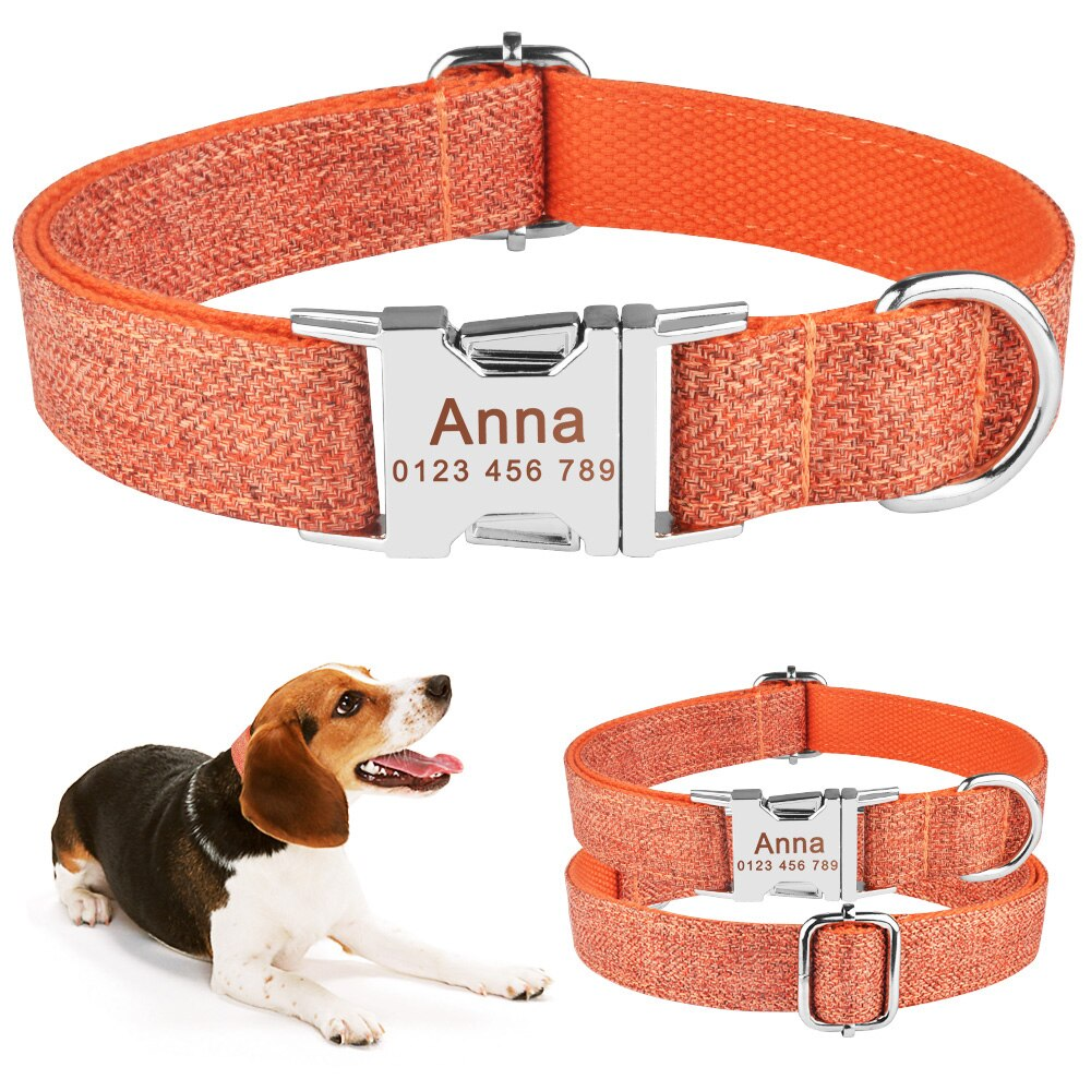 91 Nylon Personalised Dog Collar Boy Girl Pet Name ID Laser Engraved Quick Release