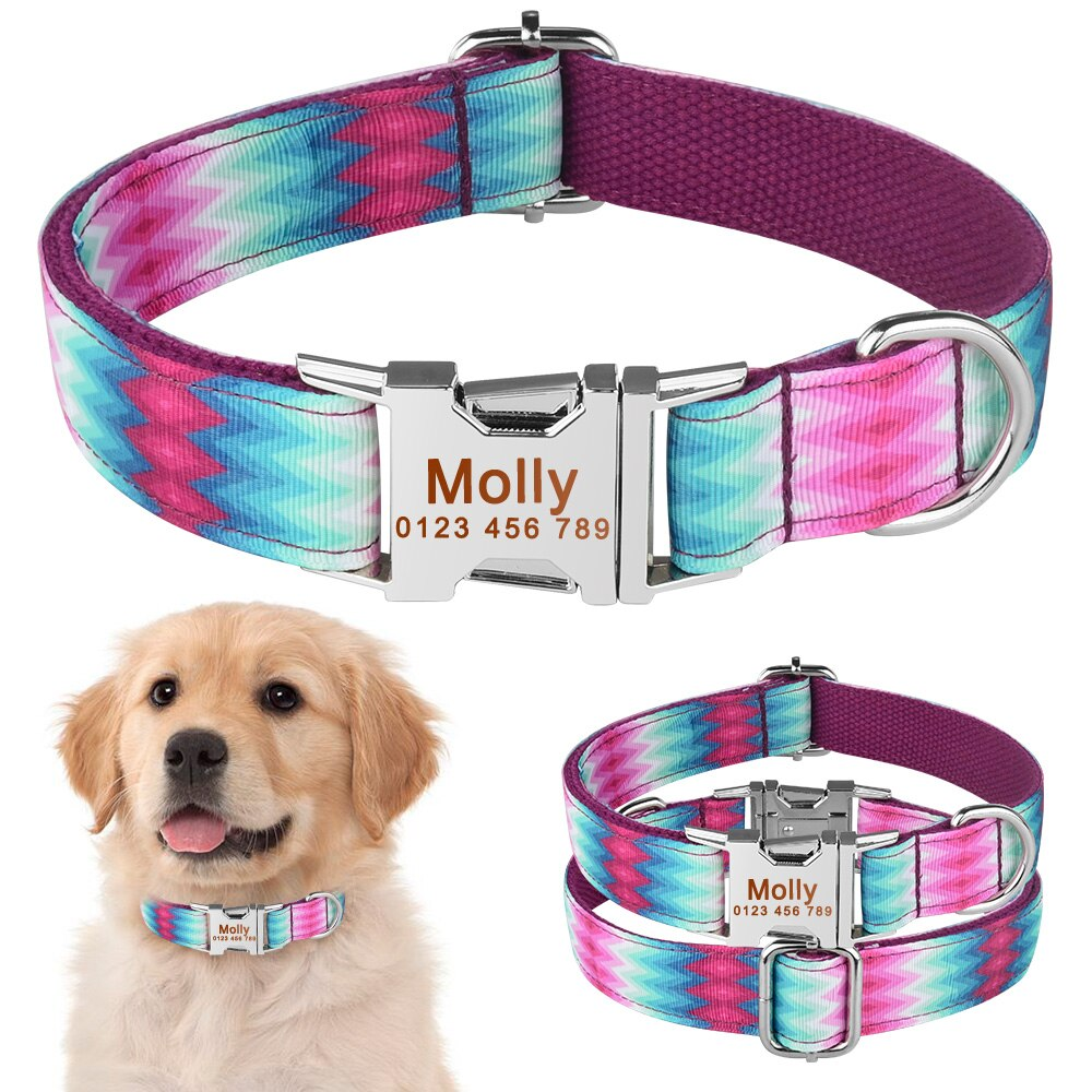 91 Personalized Dog Collar Floral Custom Engraved Name Metal Buckle Pet Puppy Tag