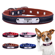 Load image into Gallery viewer, 96 Adjustable Personalized Dog Collar Leather Puppy ID Name Custom Engraved XS-L