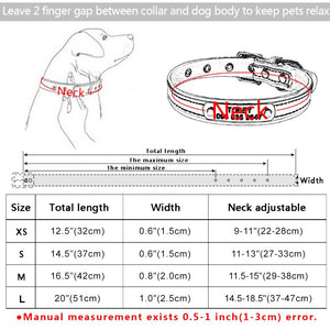 96 Adjustable Personalized Dog Collar Leather Puppy ID Name Custom Engraved XS-L