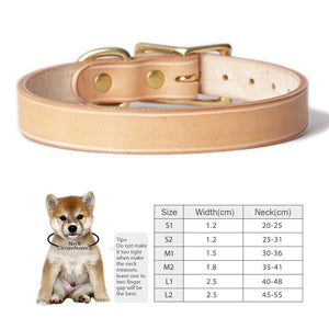 8.2 1Handmade Genuine Leather Dog Collar Italian Vegetable-tanned Leather Collar for Dogs Puppies Copper Buckle Natural Pet Products