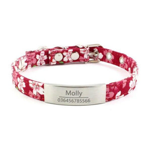 8.2 1Personalized Dog Collar Laser Engraved Name Collar for Puppies with ID tags Bell Floral Pattern Dog Supplies Pet Products